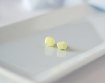Lemon Geometric Stud Earrings - Geo Earrings - Simple - Minimalist - Modern - Lightweight