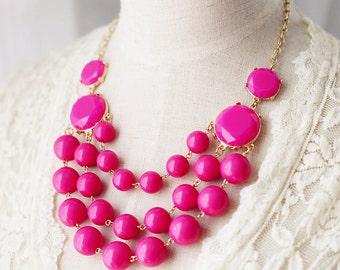 Multi Strand Bubble Necklace Fuchsia Pink
