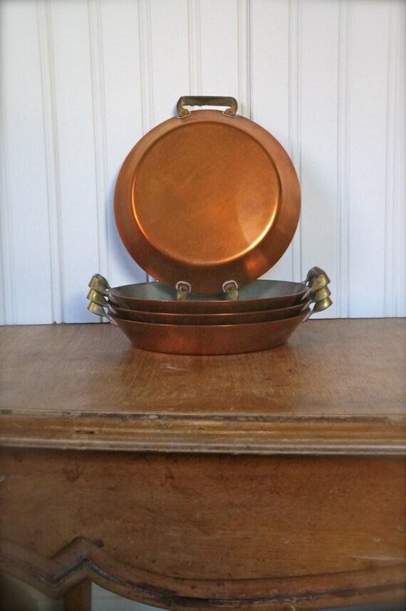 Vintage Set of 4 Individual Copper Au Gratin Serving Pans