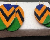 Kente fabric earrings oval shaped African jewelry