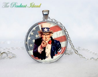 Uncle Sam Pendant Uncle Sam necklace Pendant Uncle Sam Gifts for men for her for him