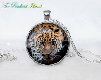 LEOPARD NECKLACE   LEOPARD pendant White  Yellow Silver Jewelry Necklace for him  Art Gifts for Her