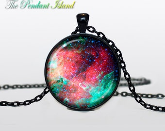 NEBULA Pendant  Nebula Necklace Galaxy necklace Space pendant Turquoise White Silver Jewelry Necklace for him  Art Gifts for Her