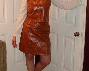 60's vintage Vinyl Suit/ 60s Mod Go-Go Groovy Vinyl suit/ 60s two piece A-line snap dress