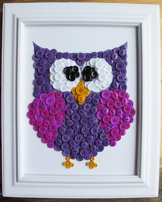Button art animal owl purple canvas 8x10 by hydeparkhome - Cuadros con botones ...