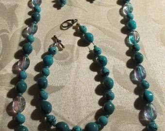 Turquoise 3-Piece Beaded Necklace, Bracelet, and Earring Set (N115)
