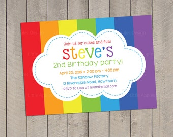 items similar to rainbow party invitation  invitation for a, party invitations