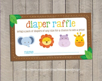 Baby Shower Diaper Raffle Tickets / Safari Baby Shower Diaper Raffle Tickets  / Jungle Baby Shower