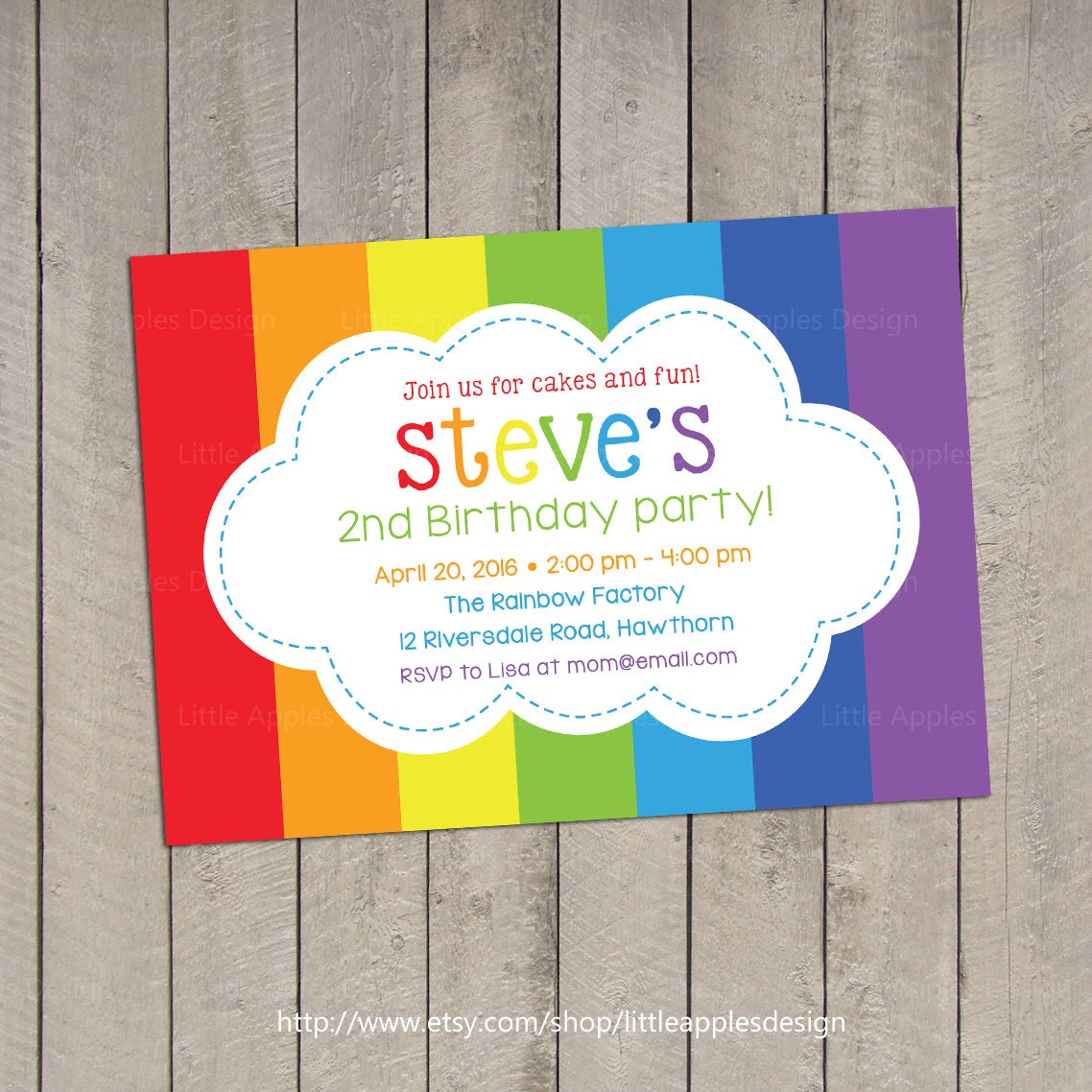 Rainbow Invitation / Rainbow Birthday Invitation / Rainbow