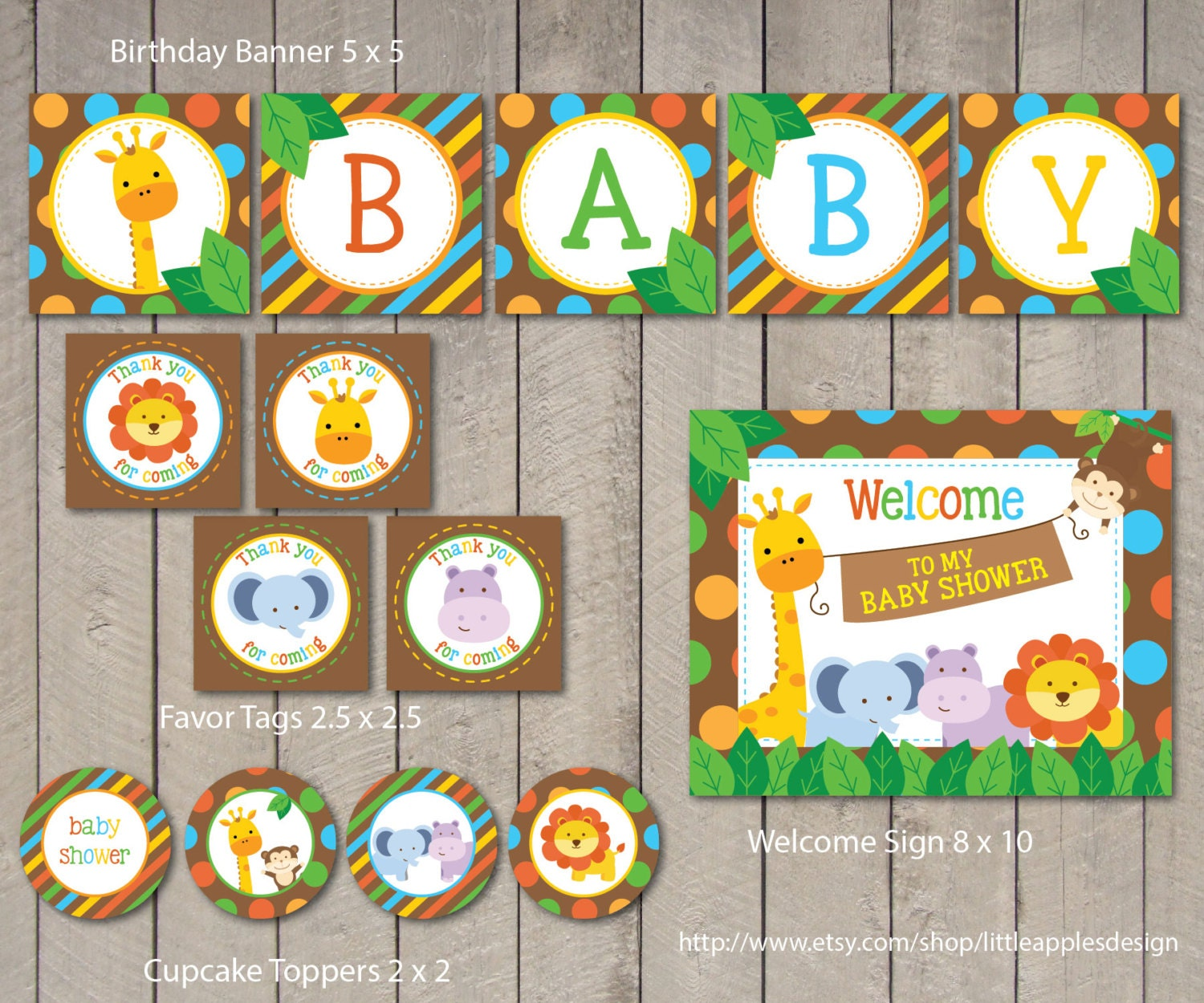 Safari Baby Shower Package / Safari Baby Shower Pack by DreamyDuck