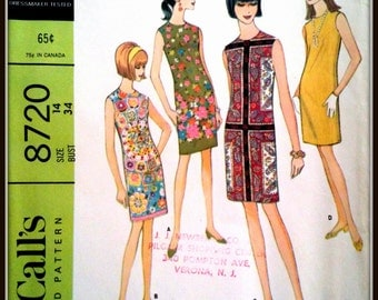 """McCall's  8720  Misses' And Junior Dress  Size  16  Bust  36"""""""