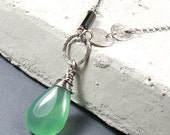 Sterling Silver Necklace, Wire Wrapped Necklace, Onyx Necklace, Green Black Necklace, Green Pendant, Silvergallerycomau