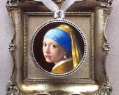 Hand painted Vermeer fine art miniature, The Girl with a Pearl Earring, set in pendant to wear or display.  Oil on canvas by Anna Wakitsch.