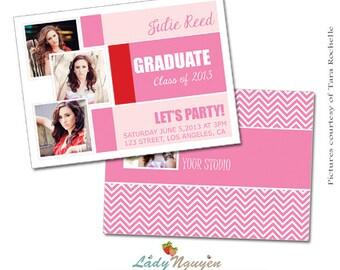 INSTANT DOWNLOAD 5x7 Graduation Announcement Card Template - CA070