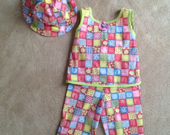 Girls Size 3 Three Piece Spring and Summer Outfit with Pants and Top and Hat in Checkered Pink Blue Yellow and Green Print- Ready to Ship