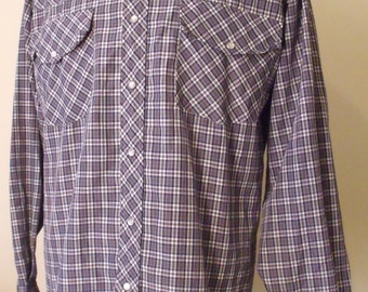 Vintage Plaid Western Snap Shirt by Haband