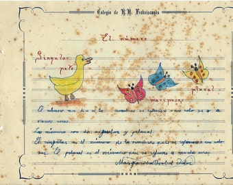 Spanish Child Drawings to frame - 1956