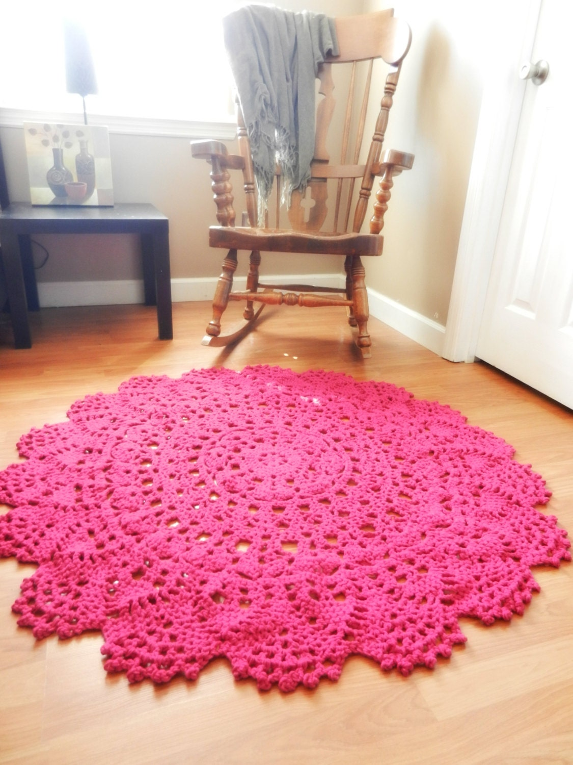 Giant Crochet Doily Rug Magenta Hot Pink Lace Large By