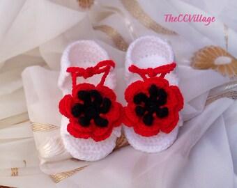 White Baby Crochet Sandals, Handmade Crochet Baby Girl Shoes, White Baby Girl Shoes, Ballerina Baby Sandals,Red Flower