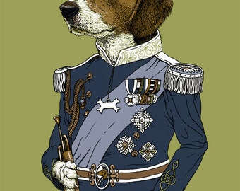 Regal Beagle Print 8x10 Animal in Suit Beagle Print