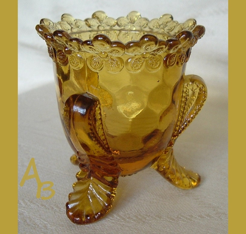 Amber Glass Toothpick Holder Forget Me Not By Atticbasement