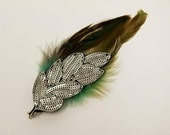 Feather Hair Clip - Silver Sequin and Emerald Ombre Feathers - The Katie Clip