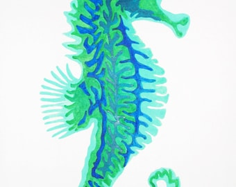 Seahorse Original Watercolor Painting, Seahorse Art, Abstract Seahorse Art, Beach Decor, Ocean Wall Art Decor, Seahorse Painting