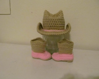 Hand Crocheted Baby Cowboy Boots and Hat - Made to Order
