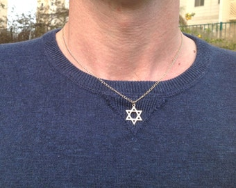 Mens necklace,gold necklace for men,star of david necklace,jewelry for man,gold filled,father gift, necklace for man,gift for dad  - 700