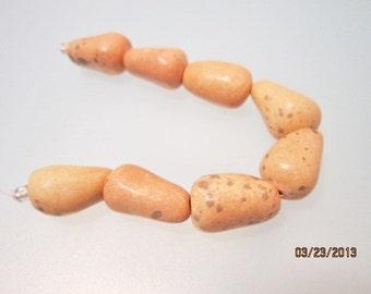Pale Coral Handmade Ceramic 18x13 Beads