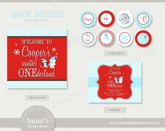 Snow Buddies Winter Onederland Printable Birthday Party Package by tania's design studio