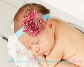 20% Off Entire Order...Hot Pink and Aqua Paisley Chiffon Rosette Baby Headband From Kemaily