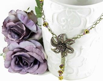 Victorian Flower Necklace One Of a Kind Vintage Flowers OOAK