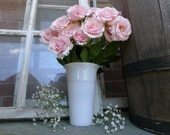 Pretty feminine milk glass vase
