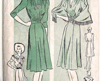 Sale - 40s Afternoon Dress Advance Sewing Pattern 2554, Gathered Shoulder & Puff Sleeves. Size 14