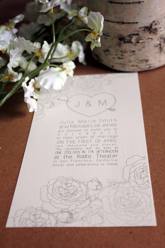 Printable Wedding Invitation: Roses Series, Made to order download
