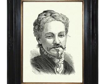 Bearded Victorian Lady Portrait Steampunk Art Print Portrait Sideshow Circus Artist Woman Dress