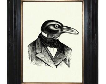 Halloween Raven Art Print Steampunk Crow Gentleman Bird Portrait Victorian Steampunk Art Print Edgar Allen Poe
