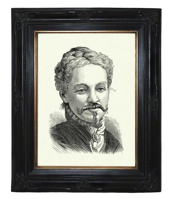 Bearded Victorian Lady Portrait Steampunk art print portrait Sideshow