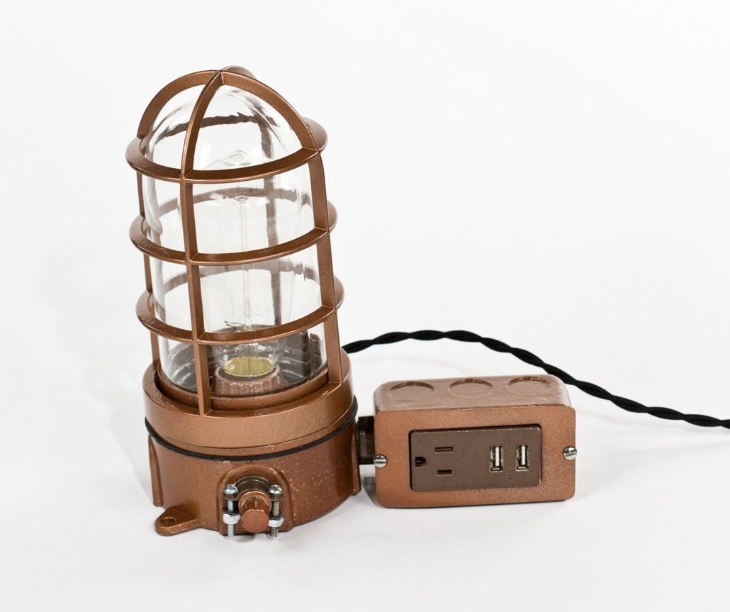 Vintage industrial explosion proof cage edison bulb table lamp zoom geotapseo Choice Image