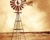 Rustic Art, windmill in a dust storm, windmill, dust storm, stock tank, farm scene, rustic, red, brown, landscape, color, Western Home Decor