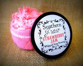 Strawberry Jam - 4 oz Jar - Whipped Soap Frosting - Lathering