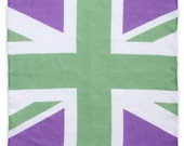 SALE: Union Frank Pocket Square - Purple White Green Linen - Union Jack - Gift For Him - Wedding
