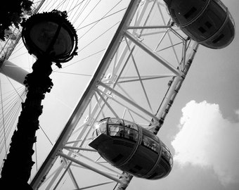 The London Eye - London, England, UK, Ferris Wheel, Sky, Urban, Street Photography, Black and White, Fine Art Photograph