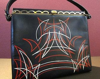 Rockabilly Pinstriped Handbag, 60s Vinyl, Scalloped