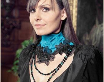 "Turquoise Silk Neck Corset Necklace ""Nuit Indienne"" Organza Flowers Azurite Obsidian UNIQUE PIECE"