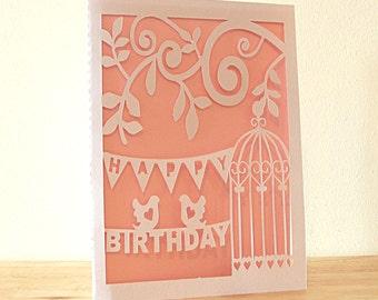 Happy Birthday Card Paper Cut, Birthday Card for her, Birthday Greeting Card, Paper Cut Card, Happy Birthday Card, Birthday Card