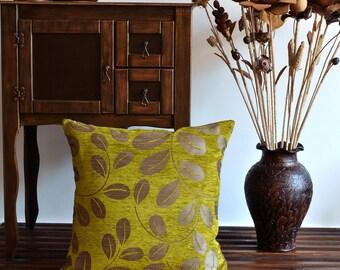 Green Floral Pillow Cover - Shimmer Pillow - 20x20 Pillow Cover - Iridescent Pillow, Organic Shine