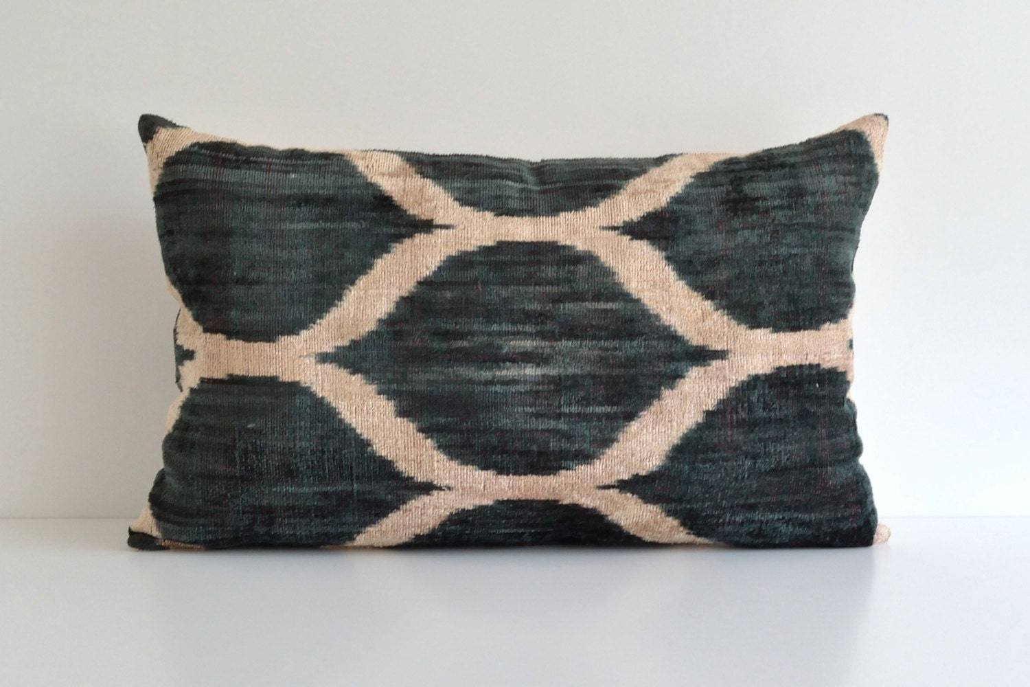 Green Ikat Pillow Large Couch Pillows Modern Throw by pillowme