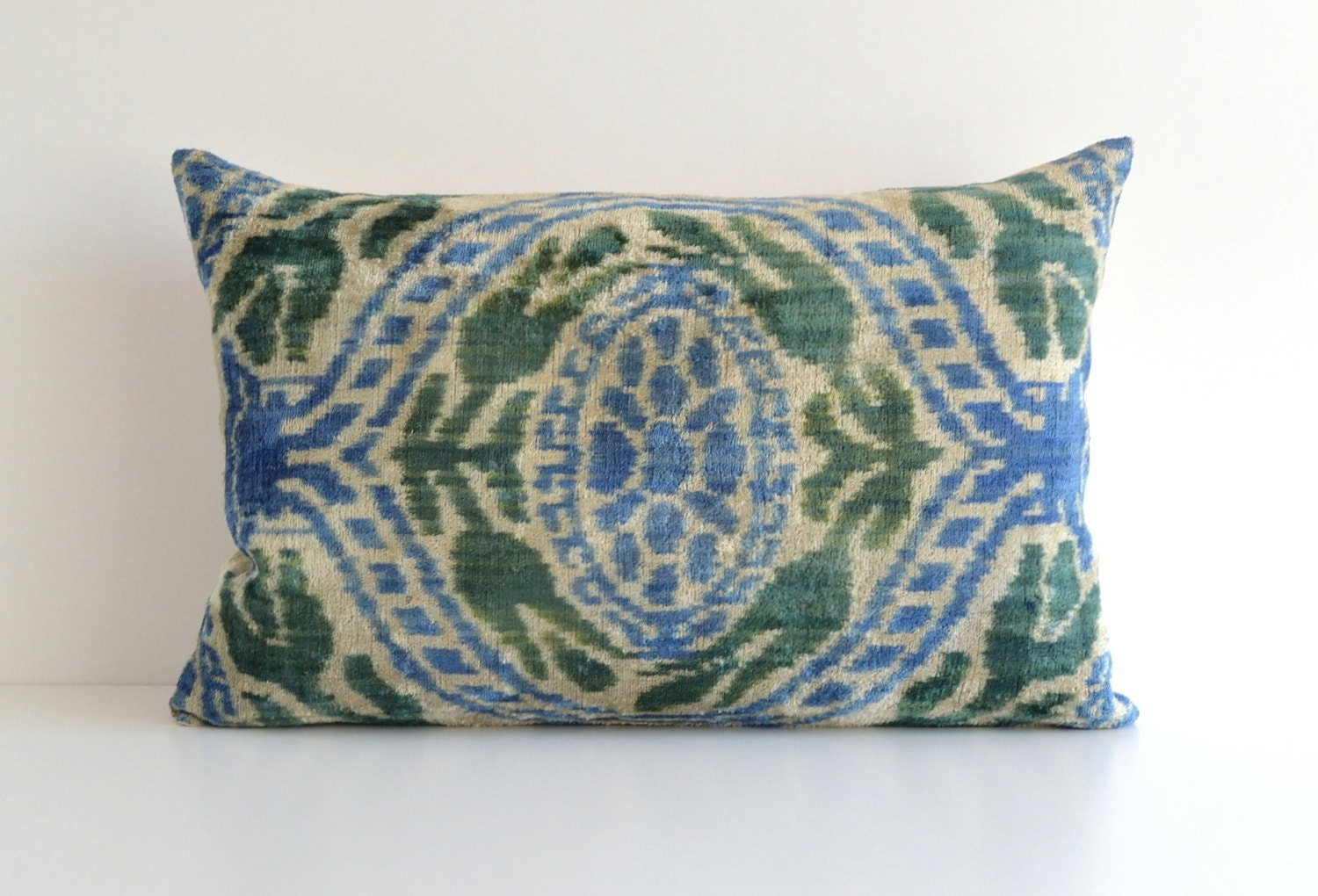 Blue Green Ikat Pillow Decorative Couch Pillows Accent